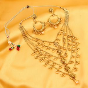 Hoop,Oviya,Gili,Parineeta,Surat Tex,Sukkhi Women's Clothing - Sukkhi Graceful Five String Laxmi Gold Plated Necklace Set For Women - (Code - N71795GLDPGA2250)
