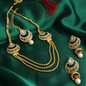 Kiara,Sukkhi,Avsar,Sangini,Parineeta,Lime,Asmi Women's Clothing - Sukkhi Graceful 3 String Gold Plated Necklace Set For Women - (Code - 3253NGLDPKN750)