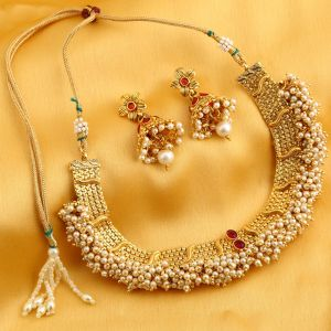 Asmi,Sukkhi,Jpearls Women's Clothing - Sukkhi Ravishing Reversible Gold Plated Necklace Set For Women - (Code - N71909GLDPGA092017)