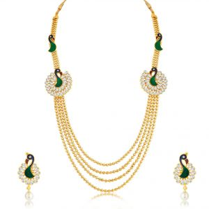 Kiara,Sukkhi,Tng,Arpera,See More,The Jewelbox,Jagdamba Women's Clothing - Sukkhi Luxurious Peacock 4 String Gold Plated Long Haram Necklace Set For Women - (Code - N71247GLDPKN950)