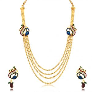 Asmi,Sukkhi,Kalazone Women's Clothing - Sukkhi Attractive Peacock 4 String Gold Plated Long Haram Necklace Set For Women - (Code - N71249GLDPM800)