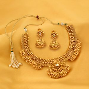 Kiara,Sukkhi Women's Clothing - Sukkhi Astonish Jalebi Design Gold Plated Choker Necklace Set For Women - (Code - N71792GLDPGA2150)