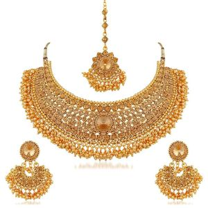 Rcpc,Jpearls,Surat Diamonds,Sukkhi,Ag,Gili Women's Clothing - Sukkhi Traditional Gold Plated Kundan Choker Necklace Set For Women - (Code - N72392ADHT112017)
