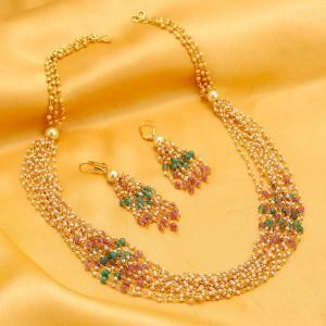 Kiara,Sukkhi,Ivy,Avsar,Sangini,Asmi,Flora,Hoop Women's Clothing - Sukkhi Appealing Gold Plated Multicolour Necklace Set For Women - (Code - N72397GLDPV112017)