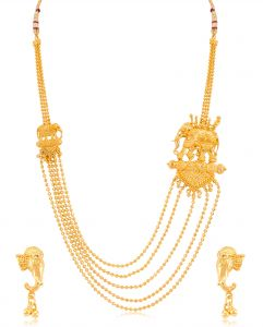 Kiara,Sparkles,Lime,Unimod,Vipul,Sukkhi Women's Clothing - Sukkhi Alluring 5 String Bahubali Inspired Gold Plated Necklace Set For Women - (Code - N71874GLDPV092017)