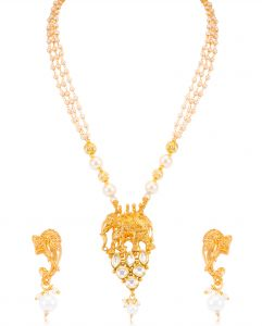 Asmi,Sukkhi,The Jewelbox Women's Clothing - Sukkhi Excellent Bhubali Inspired Gold Plated Necklace Set For Women - (Code - N71872GLDPV092017)