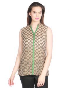 Opus Brown Zackard Casual Self Design Fusion Wear Women