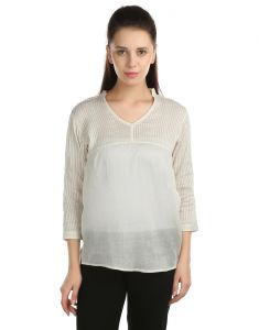 Opus Casual 100% Cotton Solid White Women