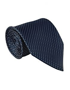 Ties (Men's) - JL Collections Premium Navy Blue Polka Dots Cotton & Polyester Formal Necktie