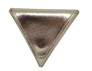 Jl Collections Gold Pu Triangle Shape With Two Side Magnetic Closure Coin Pouch (code - Jl_3436_gd)
