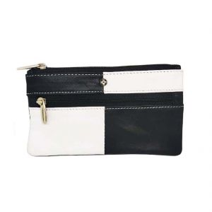 Jl Collections Black And White Genuine Leather Rectangle Shape Coin And Key Pouch (code - Jl_3446)