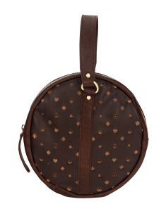 Jl Collections Leather Round Shape Zipper Closure Multi Utility Pouch (code - Jl_3449_1)