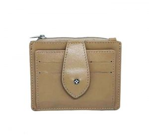 Jl Collections Beige Genuine Leather Multiple Card Slots Card Holder With Zipper Coin Pocket (code - Jl_3455)
