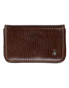 Jl Collections Unisex Brown Leather Business Card Pouch
