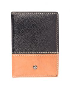 Jl Collections Black And Camel Unisex Leather Card Holder