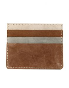 Jl Collections 3 Card Slots Brown Color Unisex Leather Card Holder