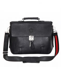 Jl Collections Black Leather Laptop Executive Messenger Bag (code - Jl_eb_3479)