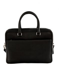 Jl Collections Black Leather Laptop Executive Messenger Bag For Unisex