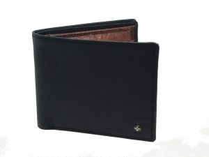 Jl Collections Mens Black Genuine Leather Wallet (4 Card Slots)