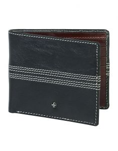 Wallets (Men's) - JL Collections 6 Card Slots Men's Blue and Brown Leather Wallet