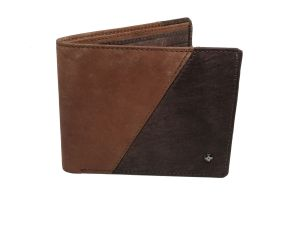 Jl Collections Mens Brown And Dark Brown Genuine Leather Wallet (8 Card Slots)