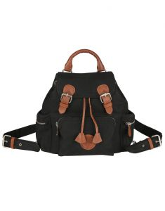 Jl Collections Women's Leather Black & Brown Backpack