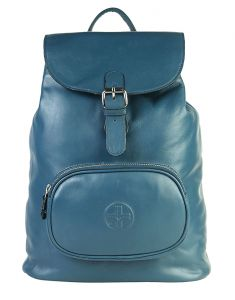 Jl Collections Women's Leather Blue Backpack