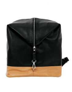 Jl Collections Unisex Genuine Leather Black And Beige Backpack (code - Jlbpu_3453)