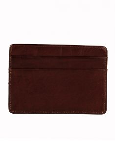 Jl Collections 3 Card Slots Brown Unisex Leather Card Holder