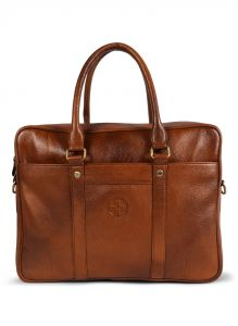 Jl Collections Brown Leather Laptop Executive Messenger Bag For Unisex