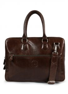 Jl Collections Dark Brown Leather Laptop Executive Messenger Bag For Unisex