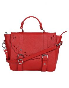 Jl Collections Women's Leather Red Shoulder Bag
