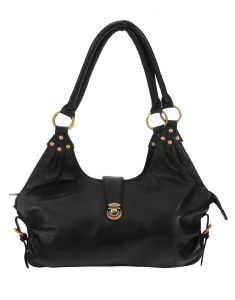 Jl Collections Women's Leather Black Hobo Bag