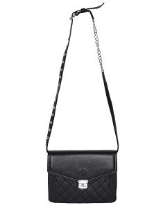 Jl Collections Women's Leather Black Sling Bag