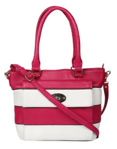 JL Collections Women's Leather Pink & White Shoulder Bag