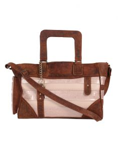 Jl Collections Women's Leather Brown & Peach Shoulder Bag