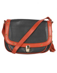 Jl Collections Women's Leather Grey & Orange Sling Bag