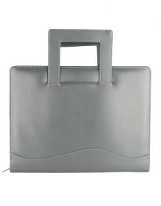 File Bags - JL Collections Leather Grey & Green Folder