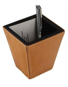 Jl Collections Leather Camel & Black Pen Holder