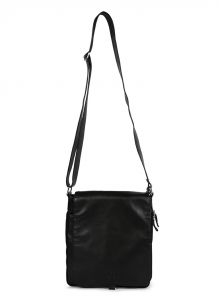 Jl Collections Black Unisex Leather Expandable Sling Bag