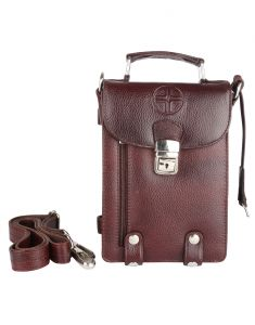 JL Collections Men's Leather Brown Bag