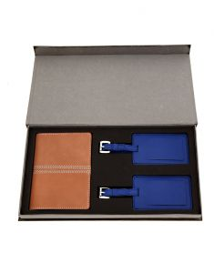 Travel luggage tags - JL Collections Beige Leather Passport Holder with Blue Luggage Tag Gift Sets (Pack of 3)
