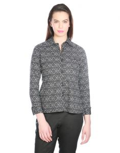 OPUS Black Cotton Formal Geometric Print Western Wear Women's Shirt (Code - SH_011A_BK)