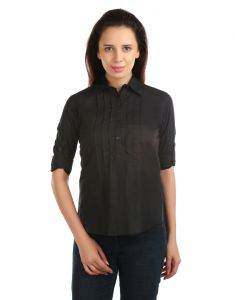 Shirts (Women's) - OPUS Roll-up Sleeve 100% Cotton Formal Black Women's Shirt (Code - SH_012_BK)