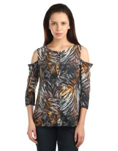 Opus Poly Crepe 3/4 Sleeve Printed Multicolor Women
