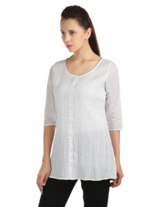 Opus 100% Cotton 3/4 Sleeve Self Design White Women