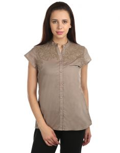 Opus Cap Sleeve 100% Cotton Casual Camel Grey Wome