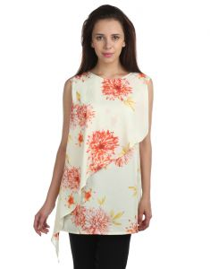 Opus American Crepe Sleeveless Floral Print Yellow Women