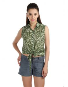 Opus Sleeveless 100% Cotton Casual Green Women