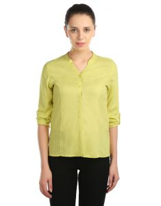 Opus Roll-up Sleeve Modal Casual Yellow Women